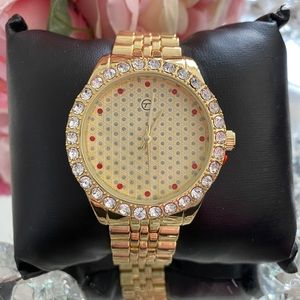 New men's gold red mix icy shiny watch
